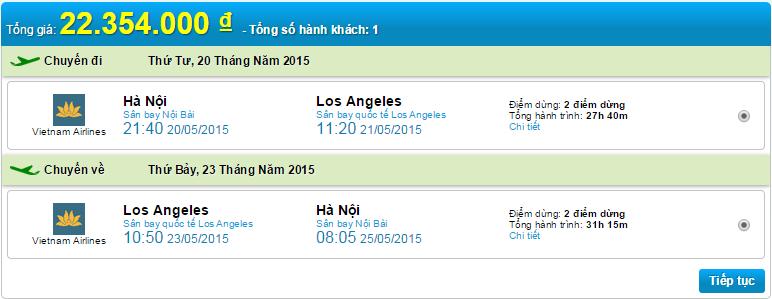 vé máy bay HN đi Los A