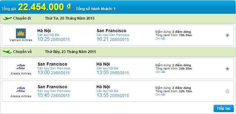 vé máy bay Hn đi San Fr