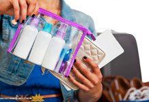 Đóng gói mỹ phẩm vào túi díp khi mang lên máy bay